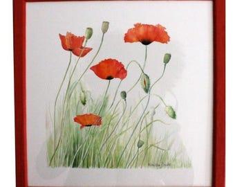 """Watercolor """"Poppies"""" unique and original watercolor"""