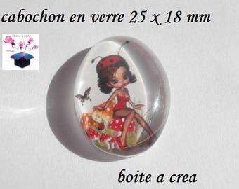 1 cabochon glass 25mm x 18mm demoiz her Ladybug