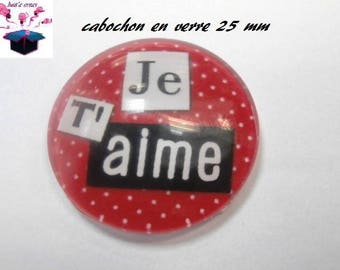 1 cabochon clear 25 mm round theme I love you