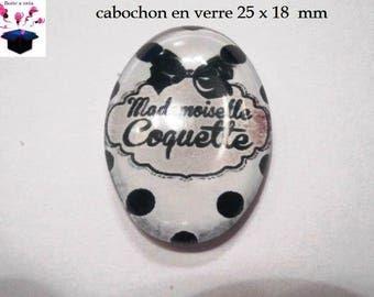 1 cabochon glass 25mm x 18mm flirtatious theme