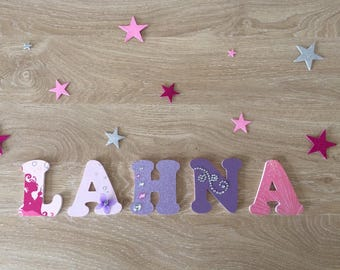 Name personalized wood rhinestone & glitter theme - letters personalized