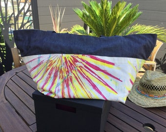Tote blue and white Mallorca hand painted jeans reversible linen insert