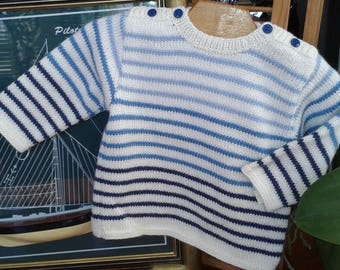 12 months baby SWEATER style Navy, blue and white, wool, handmade