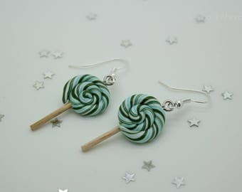 Earrings lollipop in blue and green Christmas sugar cane