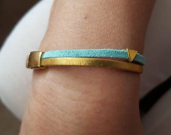 Bracelet with gold leather cord and turquoise suede cord