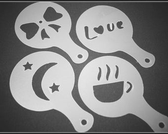 Set of 4 stencils - special coffee - shaped 2