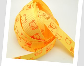 1 meter of Ribbon 22mm - yellow / orange - Rilakkuma bear