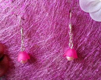 earring flower Bell fuchsia & pink