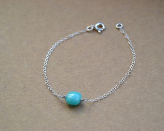 Bracelet 925 sterling silver and green tinted water stone