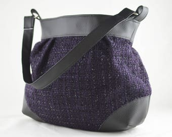 Faux leather handbag wool fabric