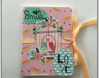 Small scrape, smile, birds, colorful spring happiness notebook