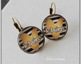 glass cabochon earrings, Valentine's day, I love black and white, gold, Valentine gift love Valentine's day