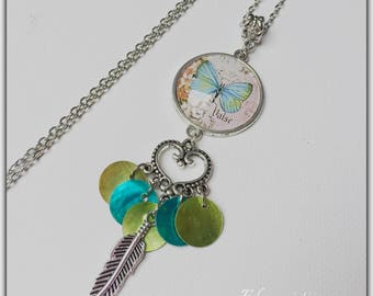Necklace Butterfly glass cabochon, sequins, Pearl, turquoise and green feather