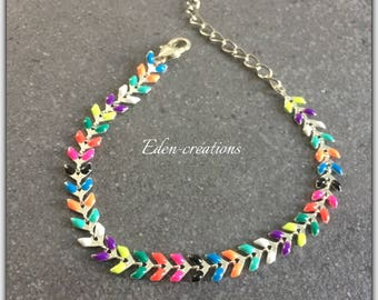 Colorful, multicolor, summer, COB enameled silver plated chain chain bracelet