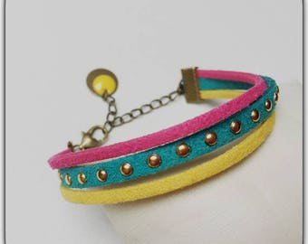 Bracelet vintage, summer, bring colorful, studded, suede cords