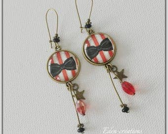 Cabochons glass, bow, circus theme earrings