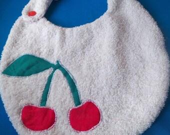 Original White cherry print Terry cloth bib
