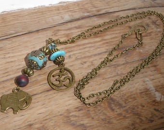 Ethnic necklace, Indonesia, turquoise and brass