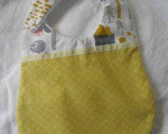 Bavoir tissu coton avec des écailles pointillées,arbres et maisons, éponge pour les bébés de la naissance à 12 mois et plus