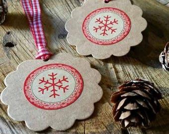 Set of 2 Kraft Christmas snowflake with Ribbon tags