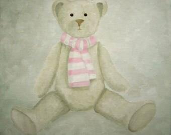 CANVAS Teddy bear children's bedroom - Ref. Pink scarf