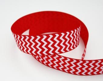 25 mm, 1 m red and white Chevron Ribbon, Ribbon grosgrain Chevron print, non adhesive