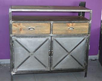 Furniture sideboard 2 industrial vintage style doors