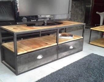 Industrial furniture wood tv steel