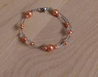 Wedding bracelet wedding bracelet, Bridal jewelry, evening, ceremony, cocktails, braceletorange/coral