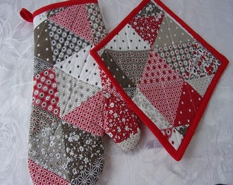 Quilted cotton oven Mitt and Potholder