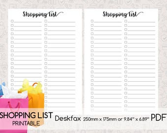 Shopping List Printable, Deskfax size, Digital Planner Page, Double-sided Printing, PDF