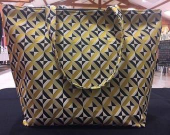 Large jacquard fabric tote bag