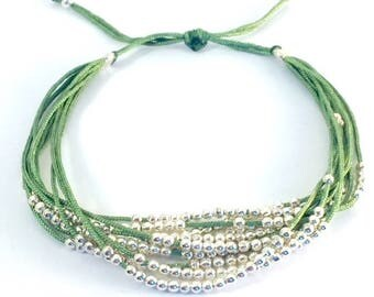 Green multi-row Beads Bracelet