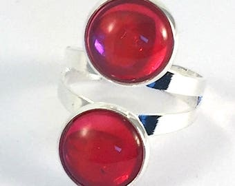 Double Red cabochon ring