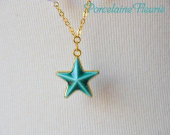 Porcelain turquoise necklace star necklace