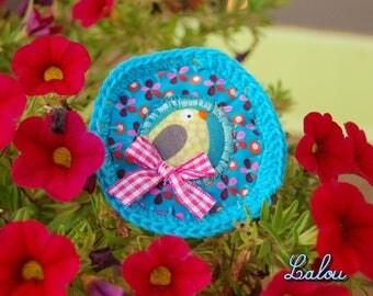 """Textile brooch """"my little birdie"""""""