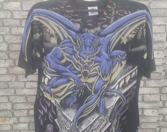 Vintage rare liquid blue dragon fullprint shirt