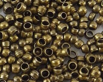 200 Perles à écraser Rondes Baril 2mm en Métal Couleur Bronze