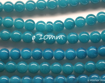 10 ø10mm colors Blue green glass round beads
