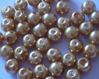 Set of 30 Topaz 8mm round pearls