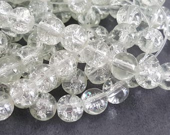 20 6 mm clear Crackle glass beads