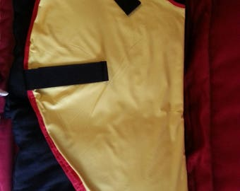 Yellow waterproof lined with red fleece