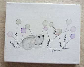 Small canvas rabbit and bird