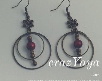Beads and metal earrings