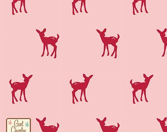 Fawn Silhouette on Rose Cotton Jersey Blend Knit Fabric **UK Seller**