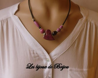 Short necklace with clay polymer, wood, glass and silver purple black romantic