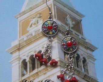 Bohemian dangle earrings with chains and Bohemian flowers