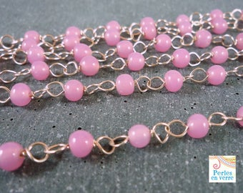 1 m 20 beautiful silver metal chain and old (CH18) pink 4mm glass beads