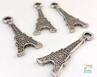 10 silver metal Eiffel Tower charms 12x32mm (bre357) nickel
