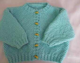 Hand knitted baby Cardigan size 6 months Green